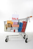 Shopping cart with gifts & shopping bags