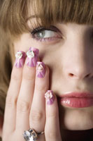 girl with artificial fingernails