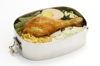 Lunch box with egg and chicken leg