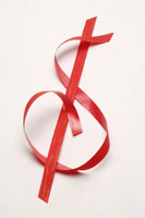 Ribbon in shape of dollar sign