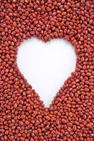 Red beans form heart shape