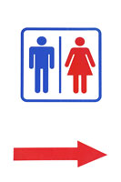 Public restroom and arrow sign