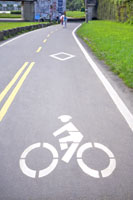 Bicycle lane signage on street
