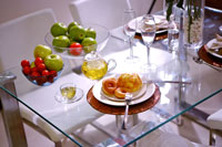 Dinning table with food