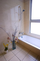 Bathtub with flower arrangement