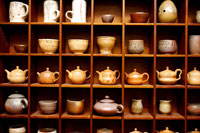 Pottery on shelf