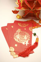 Red envelopes & part of chinese lantern