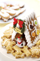 Gingerbread house, cookies & Santa Claus