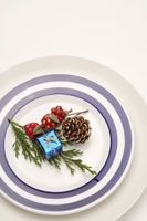 Plate with pine cone, berries & gift