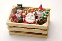 Wooden crate with Santa Claus & snowman