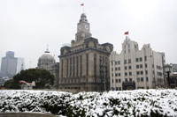 The Bund covered by snow