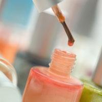 Close-up of wine nail varnish