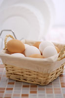 Eggs in basket on kitchen counter