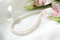 Pearl necklace and rose on fabric