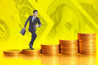 Man running on a stack of golden coins