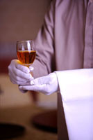 Close-up of hands holding a wine glass of drink