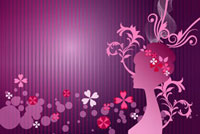 Silhouette of woman's profile with flowers