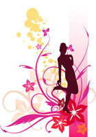 Silhouette of a with wearing high heels with flowers & vines