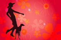 Silhouette of a woman with a dog�Cflower shape in background