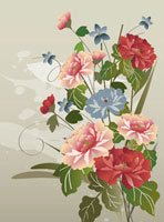 Illustration and painting of a bunch of flowers dahlias