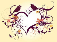 Two birds with floral patterns of heart shape