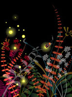 Illustration and painting of fireflies flying in grasses