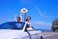 Four friends enjoying leisure activity of road trip together