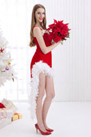 Young woman holding a bunch of poinsettia and looking at the 11010044163| 写真素材・ストックフォト・画像・イラスト素材|アマナイメージズ