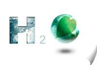 Digitally generated image of symbol of water (H2O)