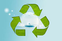 Digitally generated image of recycling symbol with drops