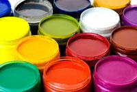 Jars of paint,full frame
