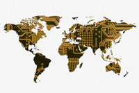 Map of world made of Mother Board