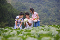 Father with two children holding vegetable and looking with