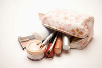 Close-up of cosmetics in the bag