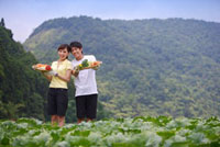 Young couple standing in the vegetable garden with vegetable