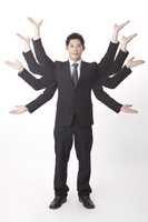 Businessman standing and being busy