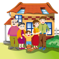 Illustration Technique, Grandfather, Grandmother, Father, Mother, Son,
