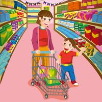 Illustration Technique, Mother, Son, Supermarket,