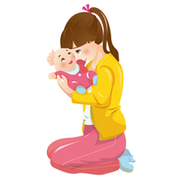 Illustration Technique, Mother, Baby,