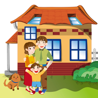 Illustration Technique, Father, Mother, Son, Home,