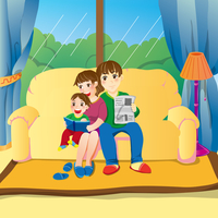 Illustration Technique, Father, Mother, Son, Living Room,