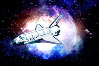 Digitally Generated Image, Illustration Technique, Space Shuttle, Universe, Digitally Generated Image, Universe, Digital Composi