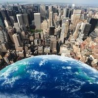 地球とマンハッタンのビル群