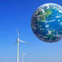 地球と風力発電