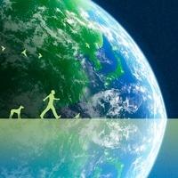地球と歩く人