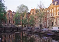 アムステルダムの運河の町並み オランダ