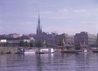 ストックホルムの街並みと船 スウェーデン