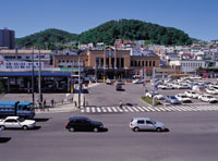 小樽駅と天狗山