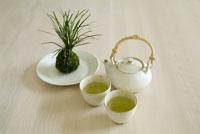 苔玉と緑茶