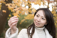 紅葉を触る女性 11014007571| 写真素材・ストックフォト・画像・イラスト素材|アマナイメージズ